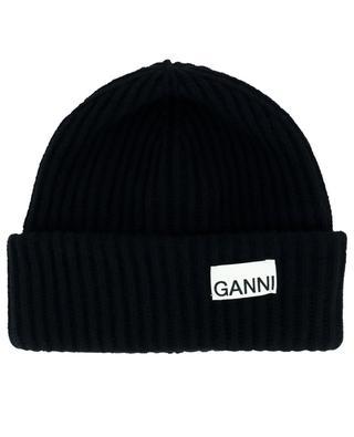 Rippstrick-Mütze aus recycelter Wolle GANNI