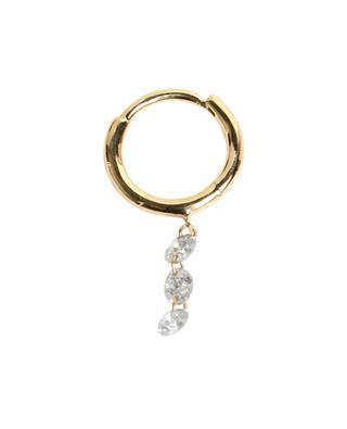 Piercing Circle 3 Diamonds single yellow gold earring PERSEE
