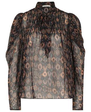 Ada gold tone polka dot ikat patterned chiffon blouse ULLA JOHNSON