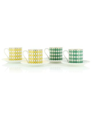 Chess set of four espresso cups and saucers POLS POTTEN