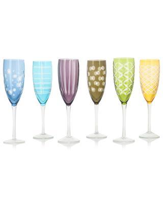 Set aus sechs Champagne-Gläsern Cuttings POLS POTTEN