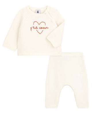 P'tit Coeur 2-piece knit cotton baby set PETIT BATEAU