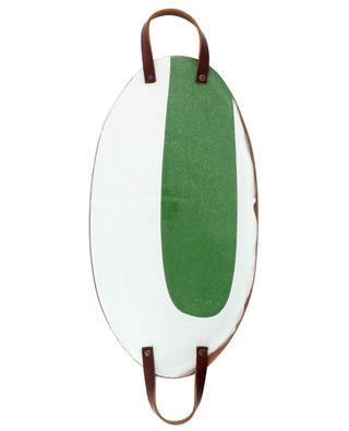 Grosses ovales Tablett aus emaillierter Terracotta mit Tragebügeln SILVIA K