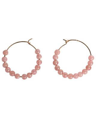 Maria pink gold and rhodochrosite hoop earrings GINETTE NY