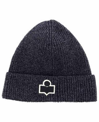 Bonnet en maille côtelée de laine mérinos motif logo Bayle ISABEL MARANT