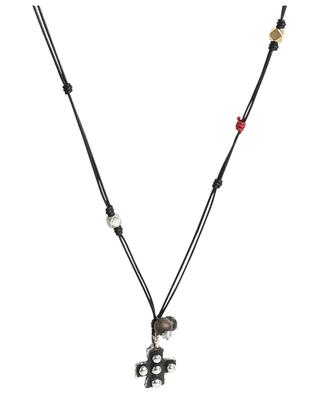 Collier en cuir avec pendentif et perles ANDREA D'AMICO