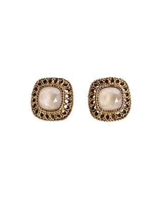 Clips d'oreilles dorés avec cristal GLAM51 POGGI