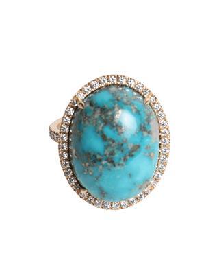 Bague en or rose ornée de diamants et turquoise GBYG