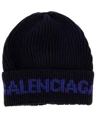 Rib knit beanie with turn-up and logo jacquard BALENCIAGA