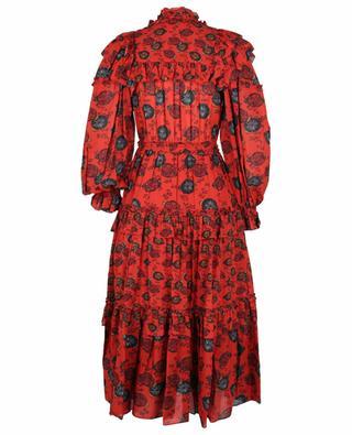 Winnifred Poppy flower printed long tiered flounced dress ULLA JOHNSON