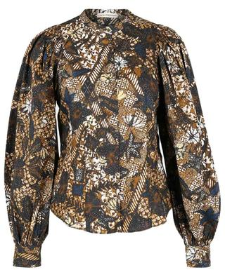 Prudence wax printed cinched cotton blouse ULLA JOHNSON