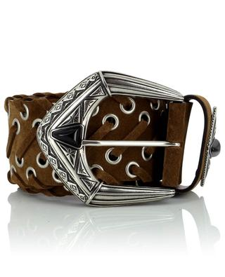 Western buckle and braid detail adorned large suede belt ETRO