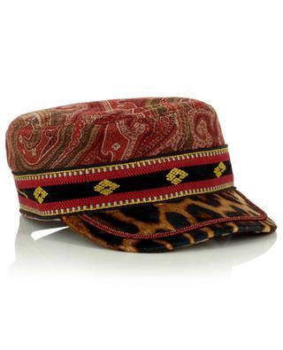 Schirmmütze mit Jacquard-Paisley-Motiven und Leoparden-Samt ETRO