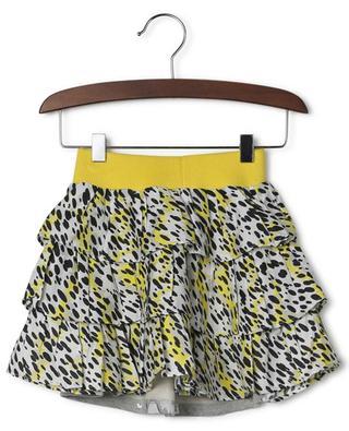 Tiger leopard speck bi-material ruffle skirt KENZO