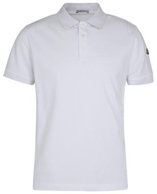 Rooster logo adorned short-sleeve polo shirt in cotton piqué MONCLER