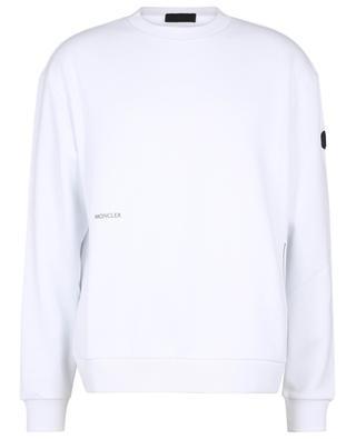 Sweat-shirt à col rond imprimé logo métallisé Matte Black MONCLER