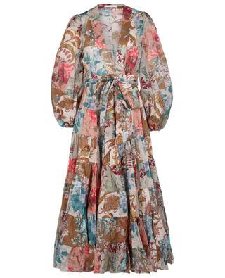 Midilanges Wickelkleid aus Baumwolle Cassia Patch ZIMMERMANN