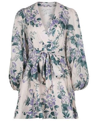 Robe portefeuille courte en lin fleuri Cassia ZIMMERMANN