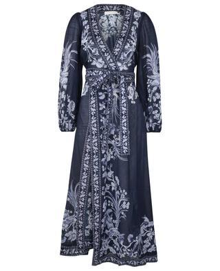 Longue robe portefeuille imprimée Aliane Wrap Blue Bird ZIMMERMANN