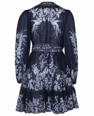 Mini robe portefeuille imprimée Aliane Frill Blue Bird ZIMMERMANN