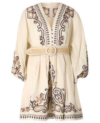Aliane Paisley embroidered linen mini dress ZIMMERMANN