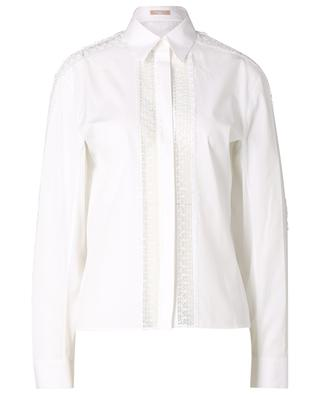 Chemise à manches longues et empiècements dentelle Popeline Soft ALAIA
