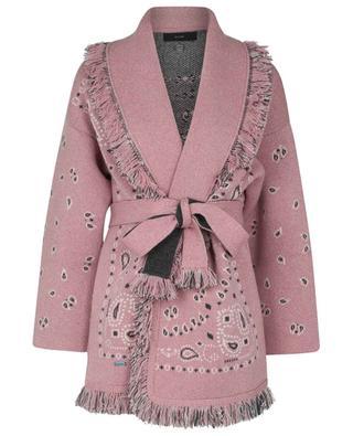 Cardigan long en jacquard de cachemire Bandana Light Pink ALANUI