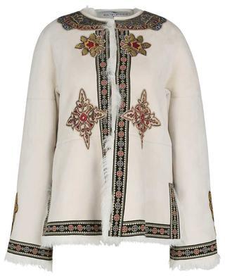 Bestickte Afghanen-Jacke aus Lammfell und -leder ETRO