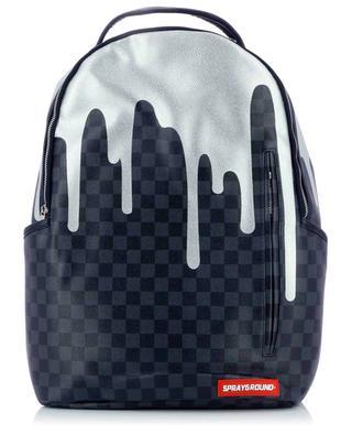 Rucksack aus Kunstleder mit Schachbrettmuster Platinum Drips SPRAYGROUND
