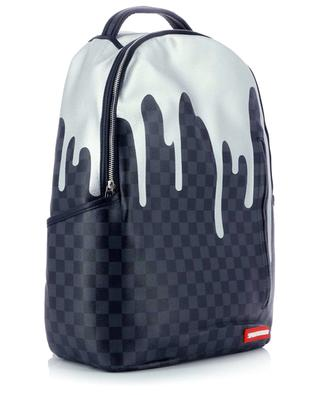 Platinum Drips chessboard patterned faux leather backpack SPRAYGROUND