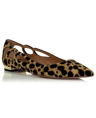 Fenix Cavallino Cheetah pointy toe haircalf ballet flats AQUAZZURA