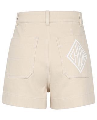 Bicolour logo printed denim cargo shorts CHLOE