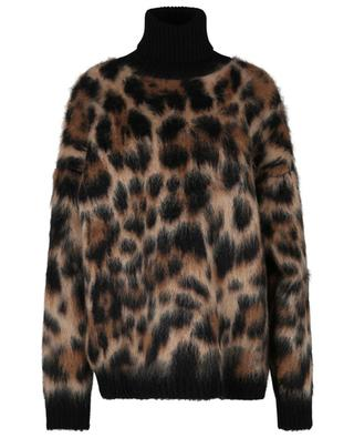 Leopard patterned turtleneck mohair jumper DOLCE & GABBANA