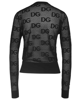 DG logo adorned lace knit crewneck cardigan DOLCE & GABBANA