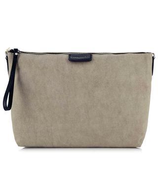 Marcella Canabic Eco Maxi canvas and leather pouch GIANNI CHIARINI