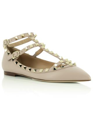 Rockstud strappy pointy toe ballet flats in smooth leather VALENTINO