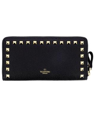 Rockstud large zippered grained leather wallet VALENTINO