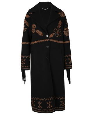 Embroidered fringe adorned virgin wool coat ERMANNO SCERVINO