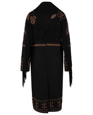 Manteau brodé en laine vierge à franges ERMANNO SCERVINO