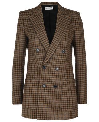 Blazer à boutonnage double en laine à carreaux SAINT LAURENT PARIS