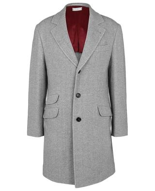 Single-breasted chevron patterned wool and cashmere coat BRUNELLO CUCINELLI
