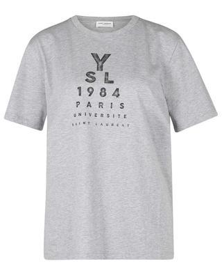 Meliertes Kurzarm-T-Shirt mit Print YSL 1984 SAINT LAURENT PARIS