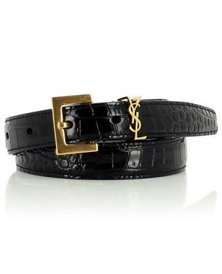 Monogram narrow croc embossed leather belt SAINT LAURENT PARIS