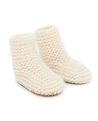 Chaussons bébé en laine avec semelle fine Knitchau BONTON