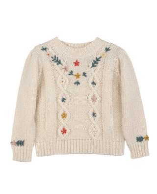 Mädchen-Zopfstrickpullover mit Vintage-Blüten Knit351 BONTON