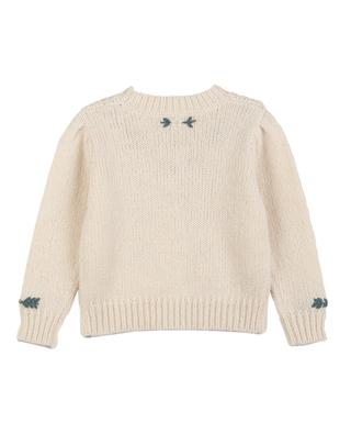 Pull torsadé fille brodé fleurs vintage Knit351 BONTON