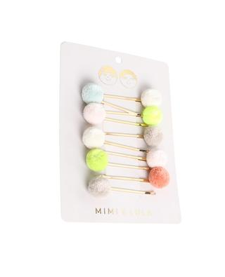 Set mit 10 Mädchen-Haarklammern Mini Pompon MIMI & LULA LIMITED