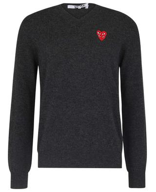 Double Heart patch adorned V-neck wool jumper COMME DES GARCONS PLAY