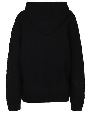 Lace adorned rib knit hooded cardigan ERMANNO SCERVINO LIFE