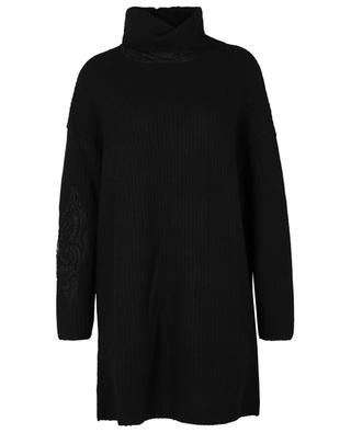 Lace adorned wool and cashmere jumper dress ERMANNO SCERVINO LIFE